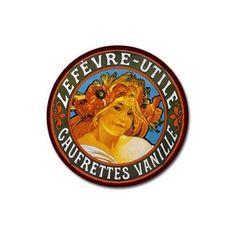 Alphonse Mucha - LU Lefevre Round Magnet Utile Art Nouveau Gaufrettes Vanille $1.99