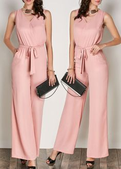 V Neck Pink Sleeveless Belted Jumpsuit on sale only US$28.74 now, buy cheap V Neck Pink Sleeveless Belted Jumpsuit at liligal.com
