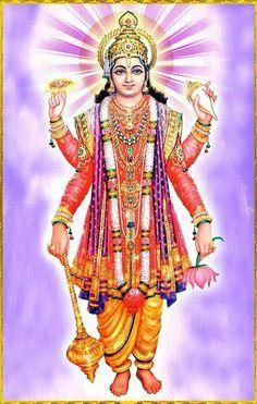 What do the adornments in the hands of Vishnu signify? How does Vishnu sustain the world? Lord Krishna Hd Wallpaper, Hanuman Wallpaper, Lord Vishnu Wallpapers, Indian Goddess Kali, Indian Gods, Sri Ganesh, Ganesha, Kalamkari Painting, Lakshmi Images