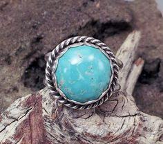 Turquoise Natural  Ladies Ring in Sterling Silver by txrockhound, $45.00