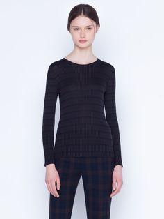 Pullover in knit silk check rib Silk Taffeta, Silk Crepe, Rib Knit, Cashmere, Stylists, Plaid, Pullover, Knitting, Long Sleeve