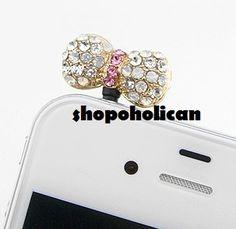iPhone iPad Crystal White Bow Cell Phone Charm Anti Dust Earphone Jack Plug | eBay
