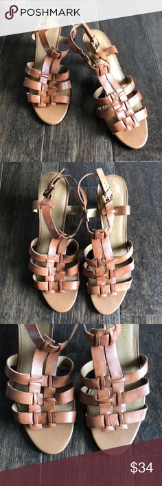 FRANCO SARTO 'Trisha' Sandal | Size 9.5 Great dressy leather sandal! Tan coloring makes them very versatile. Buckle/strap closure around ankle. Any questions please ask. Thanks for looking! Franco Sarto Shoes Sandals