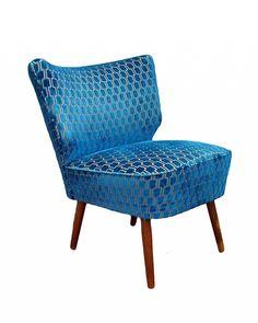 Bartolomew Mid Century Cocktail Chair In Teal Bakerloo Velvet