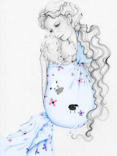 Portrait du Portage Baby Carrier écharpe tissée par ABitofWhimsyArt