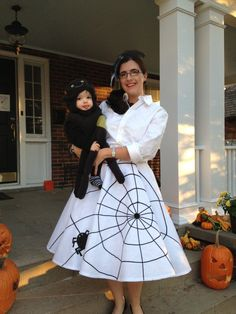 My DIY spider web skirt and spider hair fascinator. Purchased the spider costume from Pottery Barn Kids.