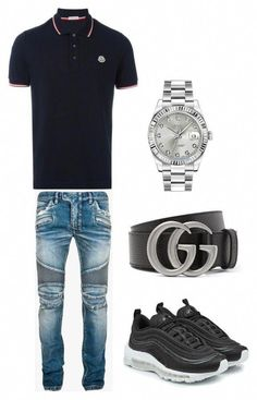 A menswear look from August 2017 featuring mens short sleeve shirts, balmain men's jeans and mens diamond watches. Browse and shop related looks. Dope Outfits For Guys, Swag Outfits Men, Stylish Mens Outfits, Bar Outfits, Vegas Outfits, Woman Outfits, Club Outfits, Teen Boy Fashion, Tomboy Fashion