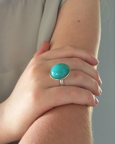 Amazonite Ring • Silver & Gold Ring • Amazonite Cabochon • Cocktail Ring • Statement Ring • Turquoise Coloured Gem
