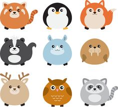 Cute Fat Animal Set vector art illustration