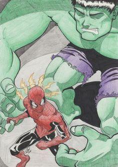 #Hulk #Fan #Art. (Hulk vs Spiderman) By:Quiqueperezsoler. ÅWESOMENESS!!!™ ÅÅÅ+