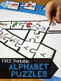 FREE Alphabet Puzzles for Upper and Lowercase Letters - love the letter shape alphabet puzzles that help kids listen for beginning letter sounds (toddler, preschool, prek, kindergarten, free printable, homeschool, phonics)