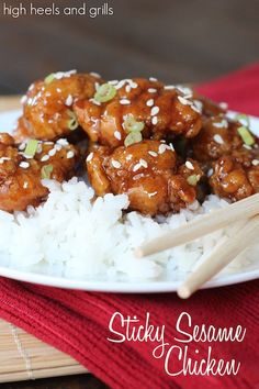 Sticky Sesame Chicken. #dinner #easy #recipe http://www.highheelsandgrills.com/2014/11/sticky-sesame-chicken-12-days-of.html