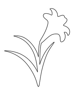 Easter lily pattern. Use the printable outline for crafts, creating stencils, scrapbooking, and more. Free PDF template to download and print at http://patternuniverse.com/download/easter-lily-pattern/