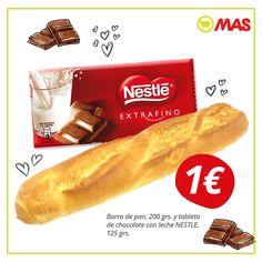 ¿Te gustaría una #merienda de las de siempre? Una barra de pan con chocolate, por solo 1€! Hasta finales de mes, en Supermercados MAS