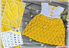 """Всем здравствуйте! Представляю платье """"Солнышко лучистое"""" на 3-4 г, рост 98 см. Пряжа СЕАМ АННА-TWIST, 100 г /500 м (Италия),(цвет 302-желтый, белый-372)."""