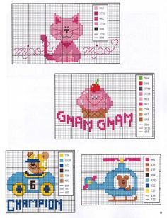 cat, cupcake and children motifs Cross Stitch For Kids, Cross Stitch Baby, Cross Stitch Animals, Counted Cross Stitch Patterns, Cross Stitch Charts, Cross Stitch Embroidery, Baby Chart, Minnie Baby, Loom Beading