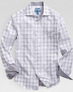 Egara Gray Plaid Slim Fit Sport Shirt | Men's Wearhouse