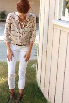 blousey top + white jeans + boots