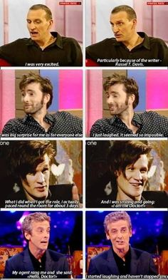 Reaction of 9, 10 , 11 and 12 to learning they would be the next Doctor. Doctor Who.