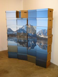 Jason Urban: 'Desktop Mountaintop', Austin, TX, digital output to wood and cardboard units.