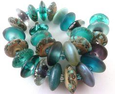 PT Handmade Lampwork Beads Riverdance Teal Aqua Ivory Silver Blue SRA