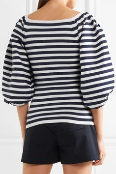 Sonia Rykiel - Striped Cotton-blend Top - Midnight blue - x large