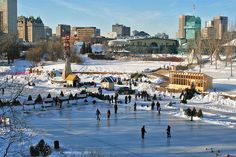 The Red River Mutual Trail in Winnipeg is the world's longest naturally frozen skating kilometers long. Ottawa, Toronto, O Canada, Canada Travel, Quebec, Vancouver, Riding Mountain National Park, Lake Winnipeg, Montreal
