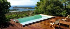 piscine avec vue, terrain en pente