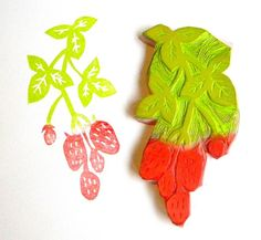 Large strawberries on the vine hand carved rubber stamp