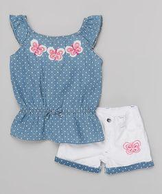 Look at this #zulilyfind! Blue Polkadot Angel-Sleeve Top & White Shorts - Infant #zulilyfinds