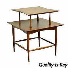 Vintage Mid Century Danish Modern Walnut Teak 2 Tier Sculpted Side Lamp Table | eBay