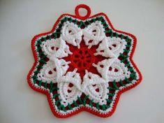 Salvamanteles estrella Free Crochet Doily Patterns, Crochet Diagram, Crochet Art, Cute Crochet, Crochet Doilies, Crochet Hot Pads, Crochet Potholders, Holiday Crochet, Weaving Patterns
