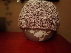Knit hat, toque, beanie in a Grey Purple color.