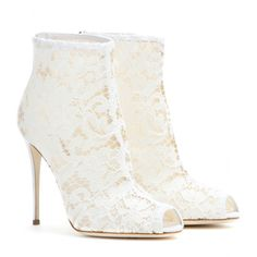 Shoes: Lace Peep-Toe Ankle Boots