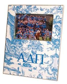 Alpha Delta Pi Bright Blue Toile Decoupage Frame.  Show your sorority spirit with this hand made decoupage photo frame!  Product in photo is from www.wellappointedhouse.com