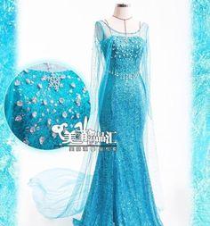 Frozen Queen Elsa Cosplay Dress Snow Cosplay Costume Adult Girls Size s XL | eBay