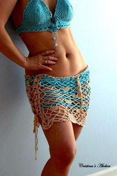 Mermaid crochet coverup skirt. Fishnet bikini skirt. Sexy handmade crochet bikini cover. Boho blue mesh skirt. Shells mesh swim coverup