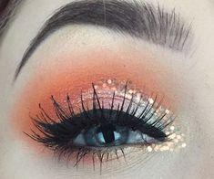 MUA IG: cheslerenea Fall makeup / morphe35b / juvia's place / masquerade pallet / orange / glitter / makeup / looks / chunky glitter / fenty beauty / galaxy pallet / colorful / eyeshadow #glammakeuplooks