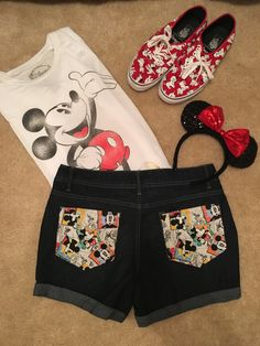 These Disney Shorts Are Filled With Character! Disney Clothes For Girls, Disney Shirt For Women, Disney Dresses For Women, Disney Clothing For Women, Casual Disney Outfits, Disney Vacation Outfits, Disney Character Outfits, Disney Vacations, Disney World Outfits