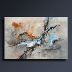 48 Large ORIGINAL ABSTRACT Gray Brown Blue Black White by itarts