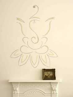 Simple line drawing of haand painted Ganesh in Anita Kaushal's house.  www.anitakaushal.com