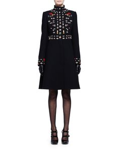 Alexander McQueen Embroidered Mock-Neck Wool Coat, Black