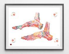Ankle bones watercolor print medical art ankle by MimiPrints