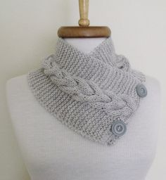 Grey Ivy Neckwarmer with Flower BroochReady For by knittingshop, $26.00