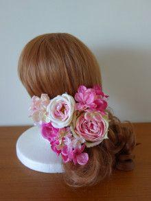 ピンクローズのヘアパーツセット♡ |Ordermade Wedding Flower Item MY FLOWER ♪ まゆこのブログ