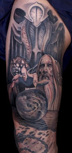 Lord of the Ring Tattoo Design: Wizard Lord Of The Rings Tattoo Design For Men On Sleeve ~ Cvcaz Tattoo Art Ideas ~ Tattoo Design Inspiration