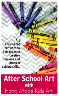 After School Art with Hand Made Kids Art. Awesome art activities to help promote creative thinking and problem solving skills.
