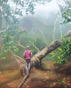 Perdida en el bosque de Anaga, óleo sobre lienzo