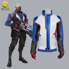Soldier 76 Jacket Cosplay Costume for Adult Men Halloween Party Coat Free Shipping Can Buy Individual Coat+Gloves