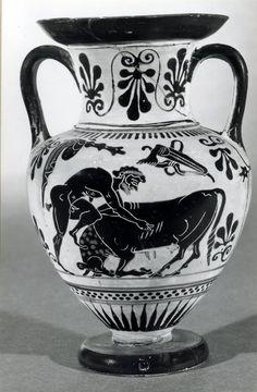 Representación de Heracles y el Toro de Creta, Crátera.  Jorge García Jurado